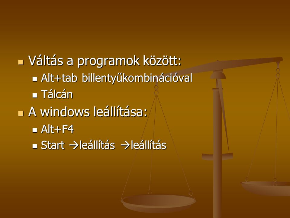 Váltás a programok között: