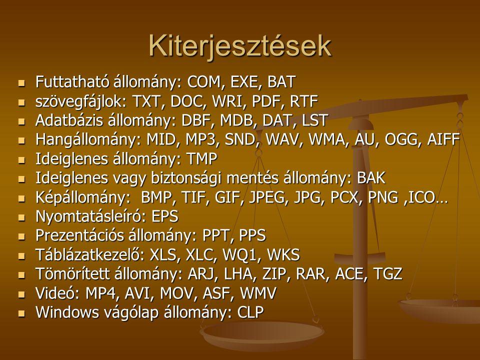 Kiterjesztések Futtatható állomány: COM, EXE, BAT