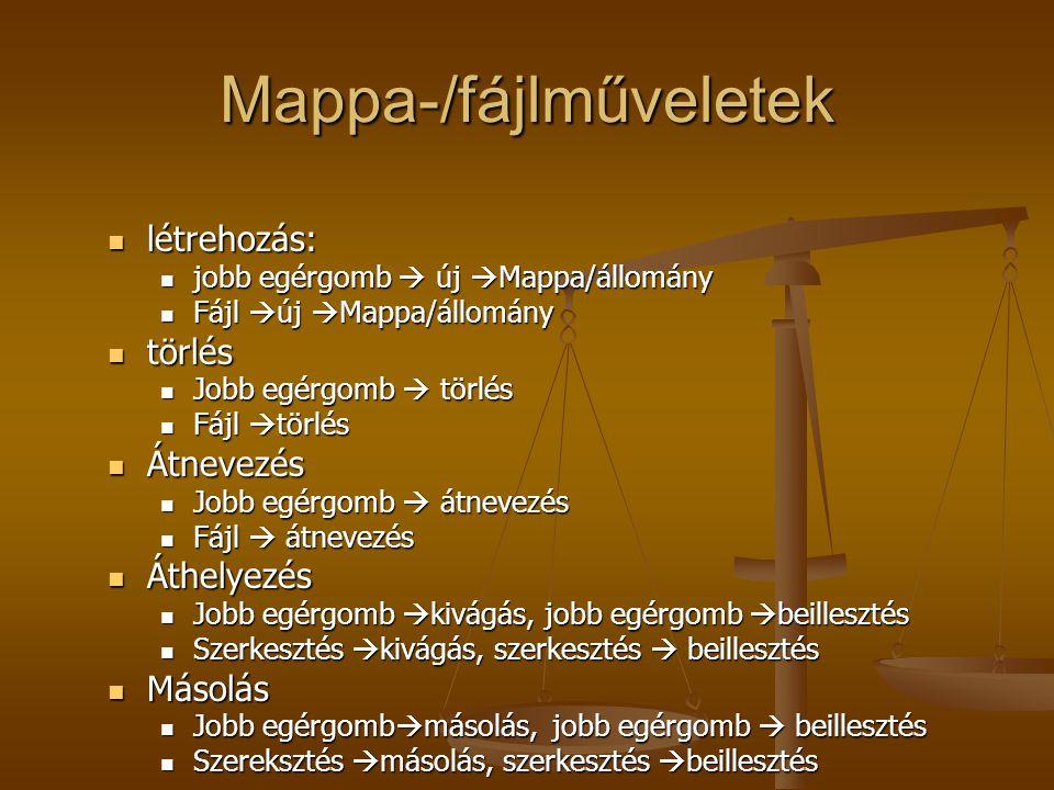Mappa-/fájlműveletek