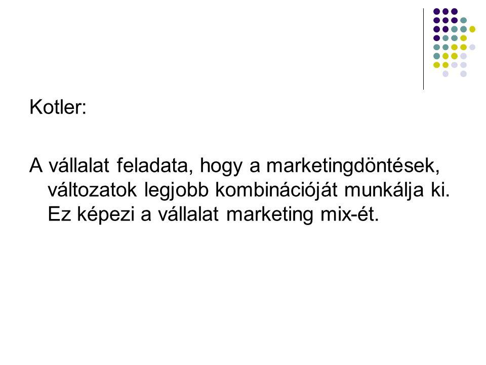 Kotler: A vállalat feladata, hogy a marketingdöntések, változatok legjobb kombinációját munkálja ki.