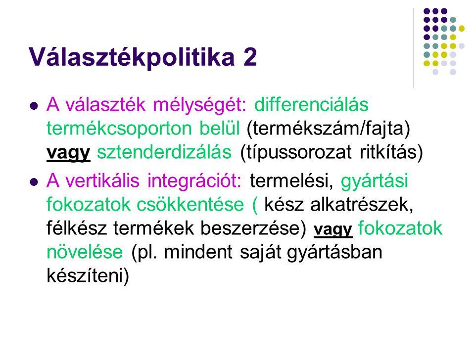 Választékpolitika 2 A választék mélységét: differenciálás termékcsoporton belül (termékszám/fajta) vagy sztenderdizálás (típussorozat ritkítás)