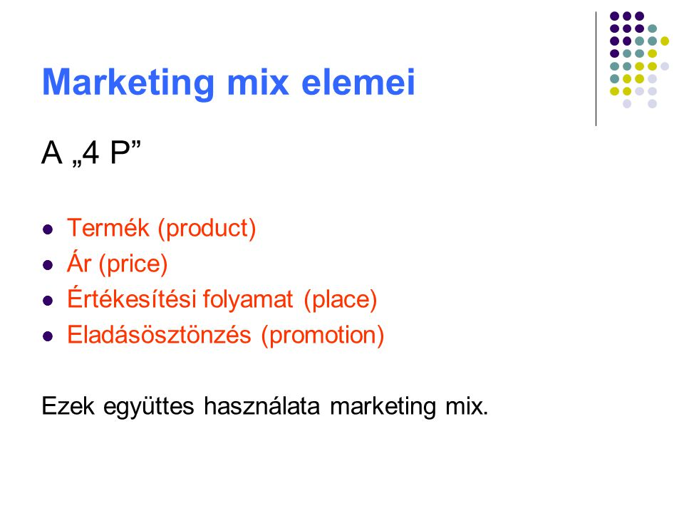 "Marketing mix elemei A ""4 P Termék (product) Ár (price)"