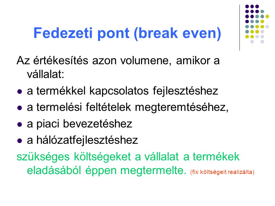 Fedezeti pont (break even)