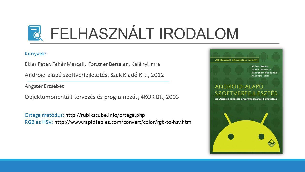 FELHASZNÁLT IRODALOM Könyvek: Ekler Péter, Fehér Marcell, Forstner Bertalan, Kelényi Imre. Android-alapú szoftverfejlesztés, Szak Kiadó Kft., 2012.