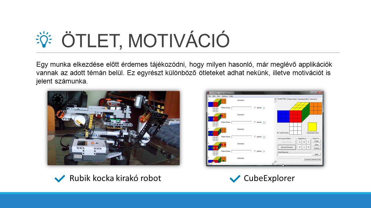 ÖTLET, MOTIVÁCIÓ Rubik kocka kirakó robot CubeExplorer