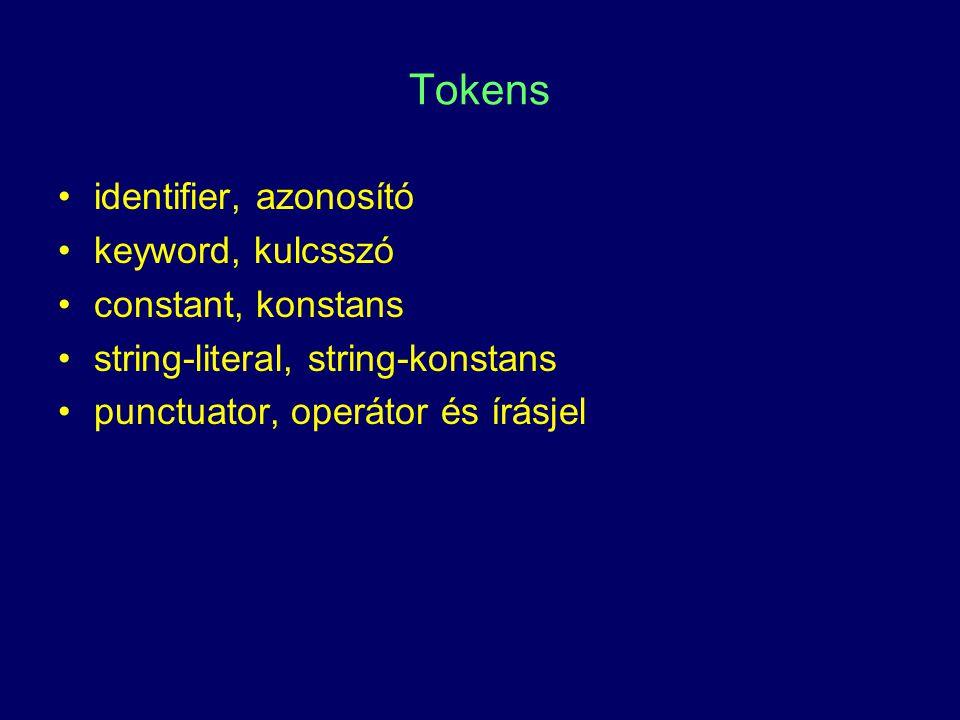 Tokens identifier, azonosító keyword, kulcsszó constant, konstans