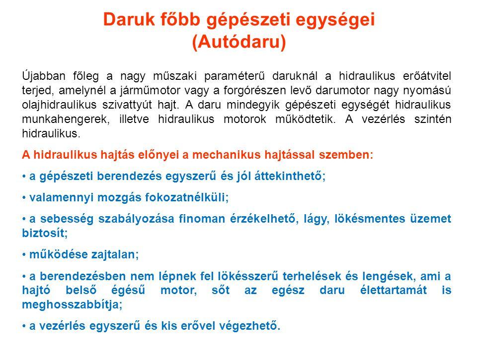 Daruk főbb gépészeti egységei (Autódaru)
