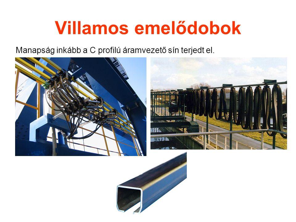 Villamos emelődobok Manapság inkább a C profilú áramvezető sín terjedt el.