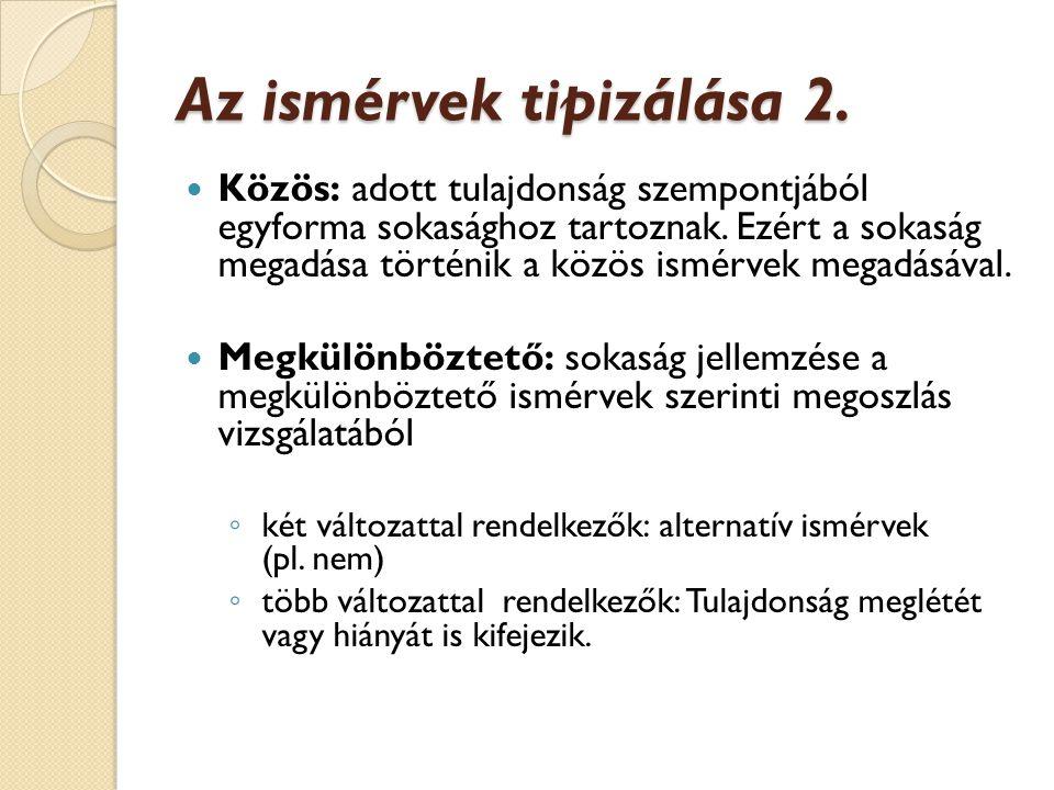 Az ismérvek tipizálása 2.