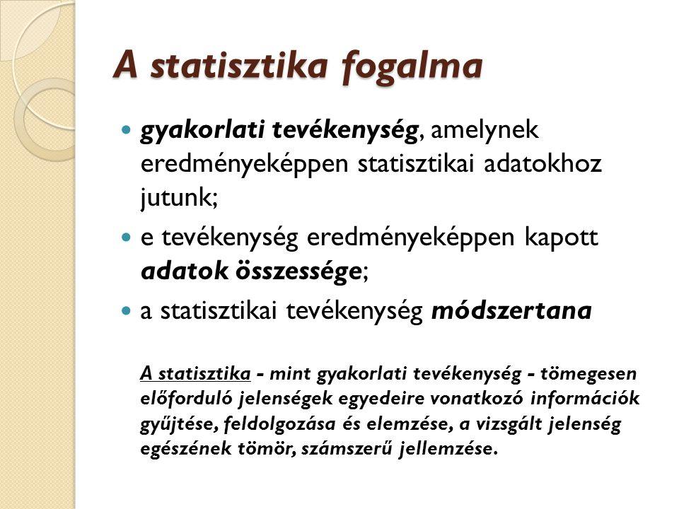 A statisztika fogalma gyakorlati tevékenység, amelynek eredményeképpen statisztikai adatokhoz jutunk;
