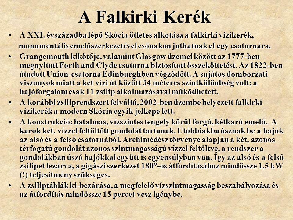 A Falkirki Kerék A XXI. évszázadba lépő Skócia ötletes alkotása a falkirki vízikerék,