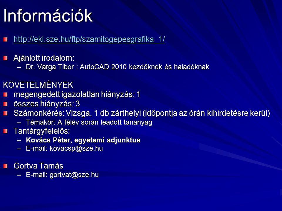 Információk http://eki.sze.hu/ftp/szamitogepesgrafika_1/