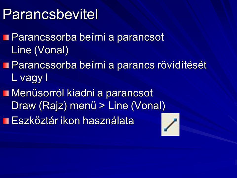 Parancsbevitel Parancssorba beírni a parancsot Line (Vonal)