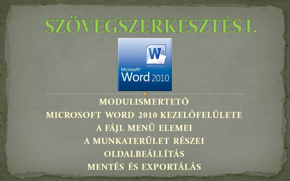 MICROSOFT WORD 2010 KEZELŐFELÜLETE
