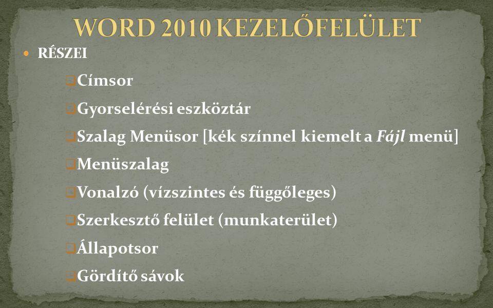 WORD 2010 KEZELŐFELÜLET Címsor Gyorselérési eszköztár