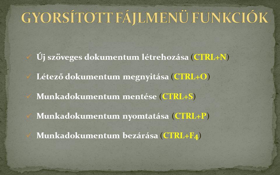 GYORSÍTOTT FÁJLMENÜ FUNKCIÓK