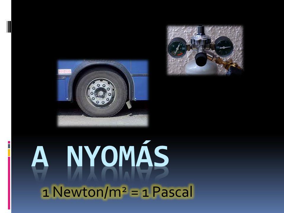 A nyomás 1 Newton/m2 = 1 Pascal