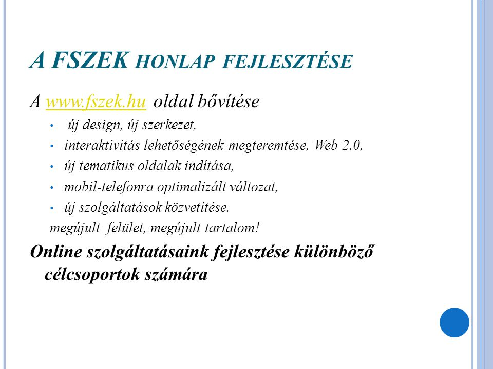 A FSZEK honlap fejlesztése