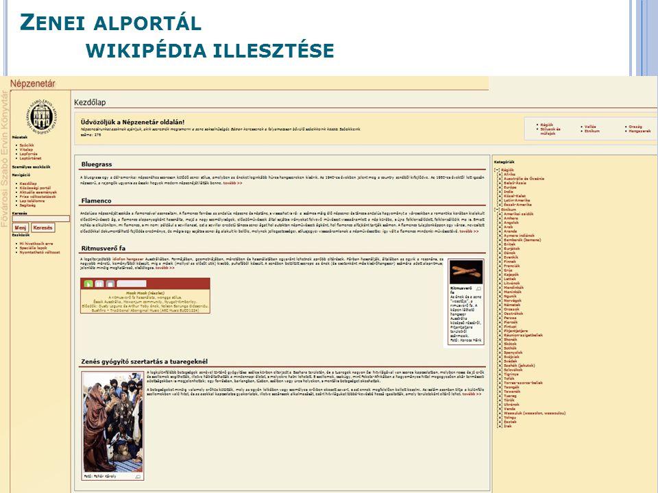 Zenei alportál wikipédia illesztése
