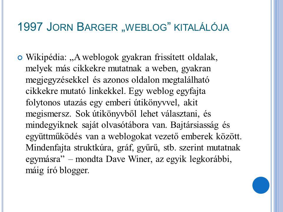 """1997 Jorn Barger """"weblog kitalálója"""