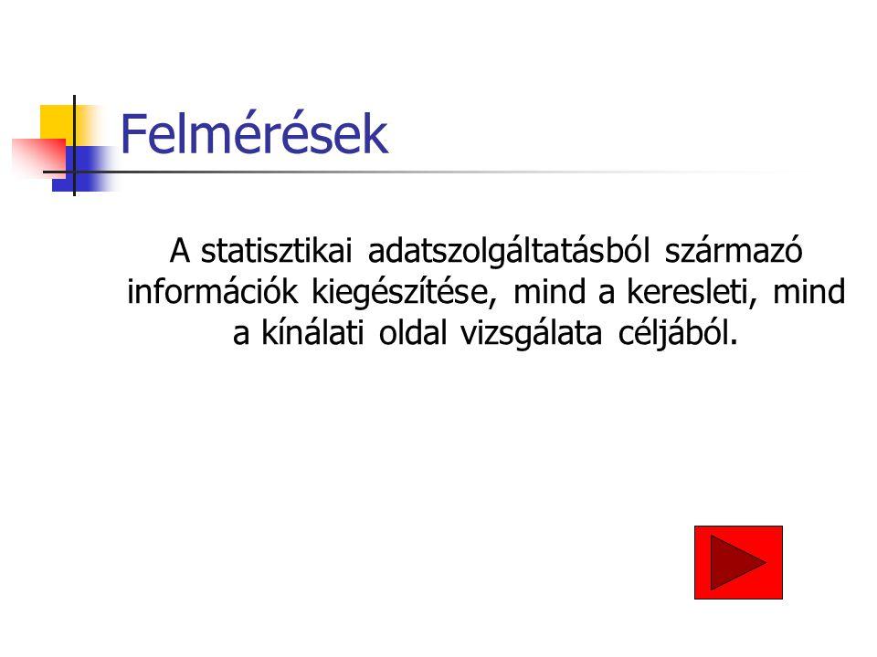 Felmérések A statisztikai adatszolgáltatásból származó információk kiegészítése, mind a keresleti, mind a kínálati oldal vizsgálata céljából.