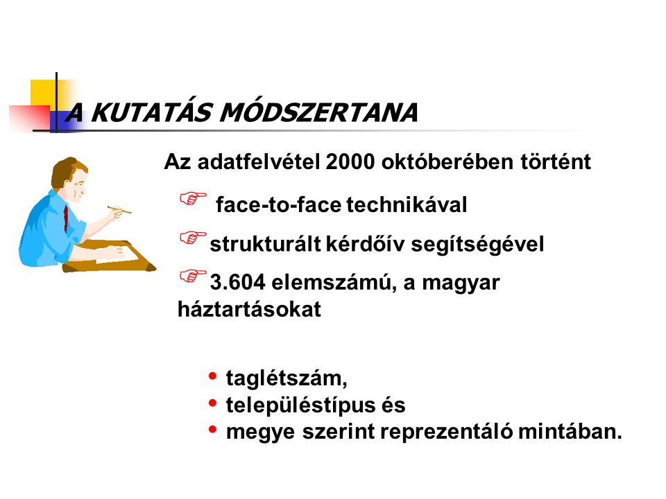 A KUTATÁS MÓDSZERTANA Az adatfelvétel 2000 októberében történt