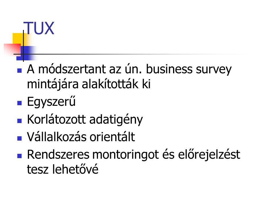 TUX A módszertant az ún. business survey mintájára alakították ki