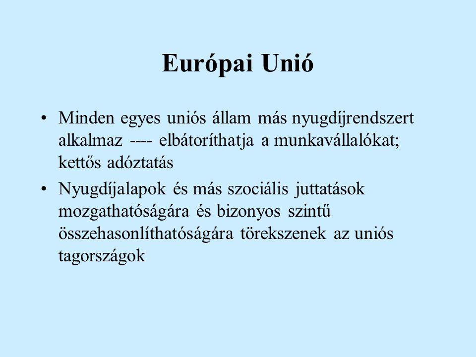 Európai Unió Minden egyes uniós állam más nyugdíjrendszert alkalmaz ---- elbátoríthatja a munkavállalókat; kettős adóztatás.