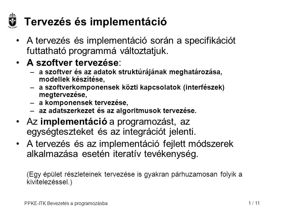 Tervezés és implementáció