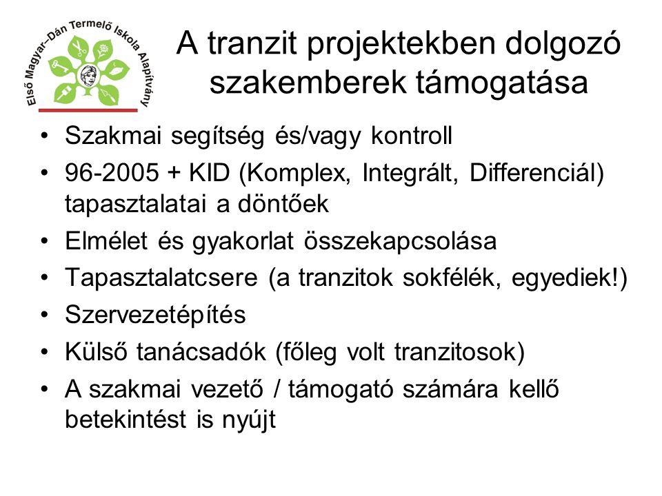 A tranzit projektekben dolgozó szakemberek támogatása