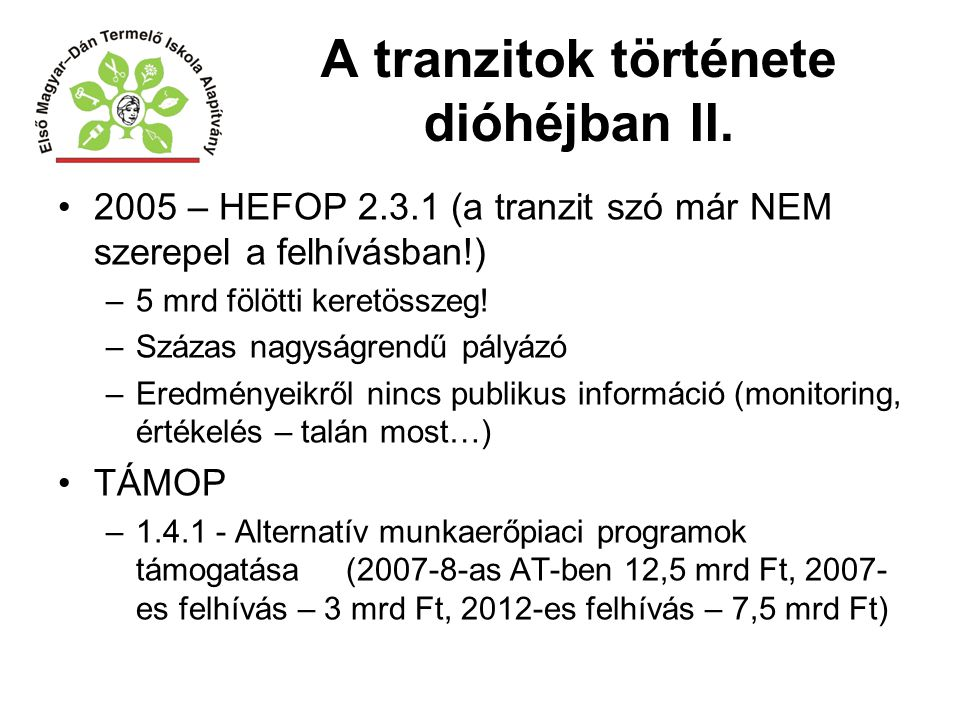 A tranzitok története dióhéjban II.