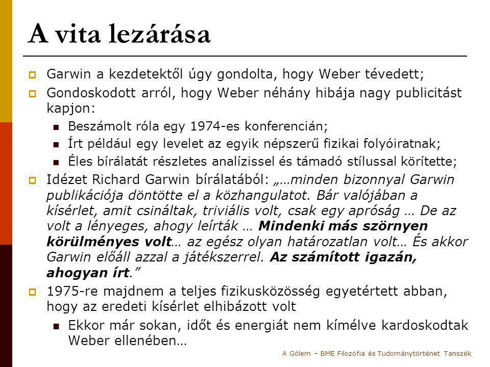 A vita lezárása Garwin a kezdetektől úgy gondolta, hogy Weber tévedett; Gondoskodott arról, hogy Weber néhány hibája nagy publicitást kapjon:
