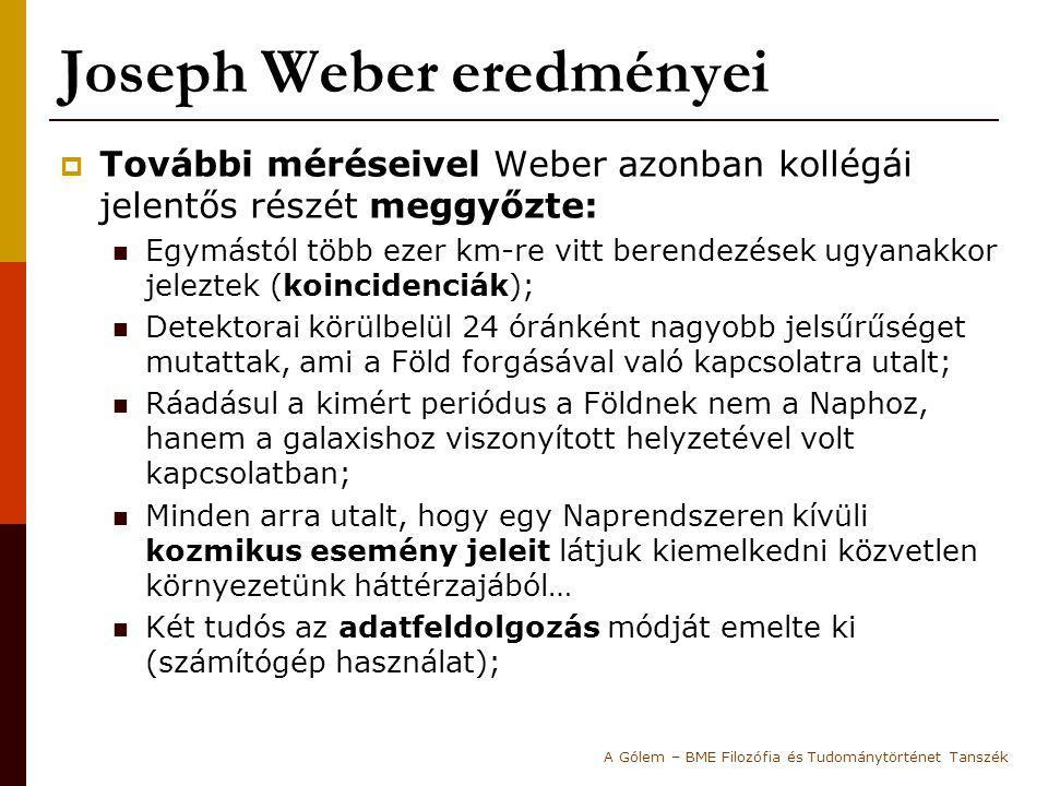 Joseph Weber eredményei