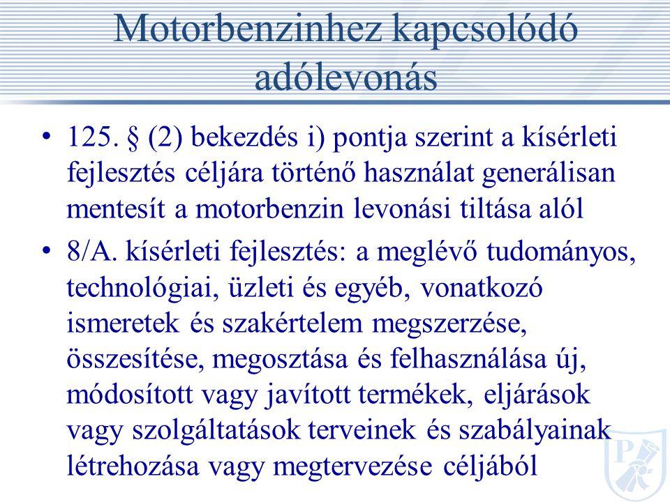Motorbenzinhez kapcsolódó adólevonás