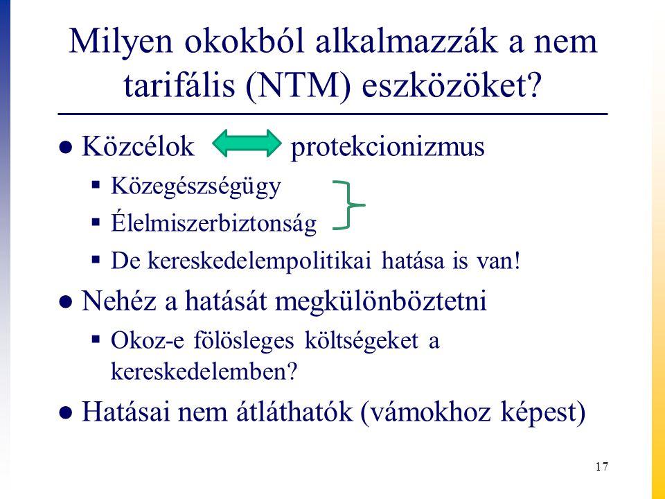 Milyen okokból alkalmazzák a nem tarifális (NTM) eszközöket