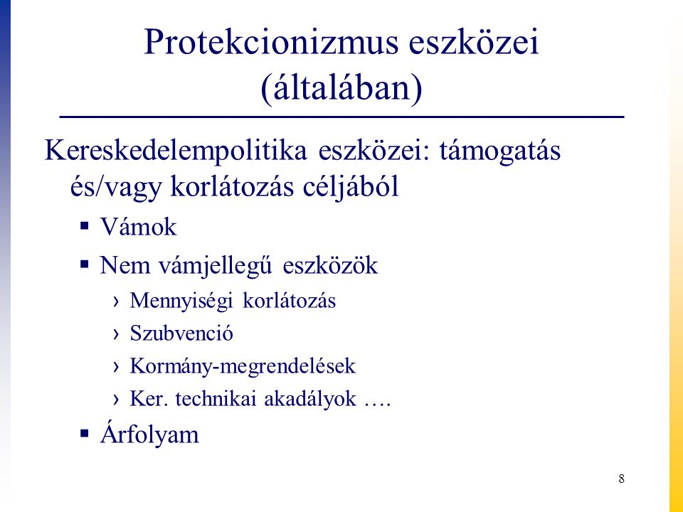 Protekcionizmus eszközei (általában)