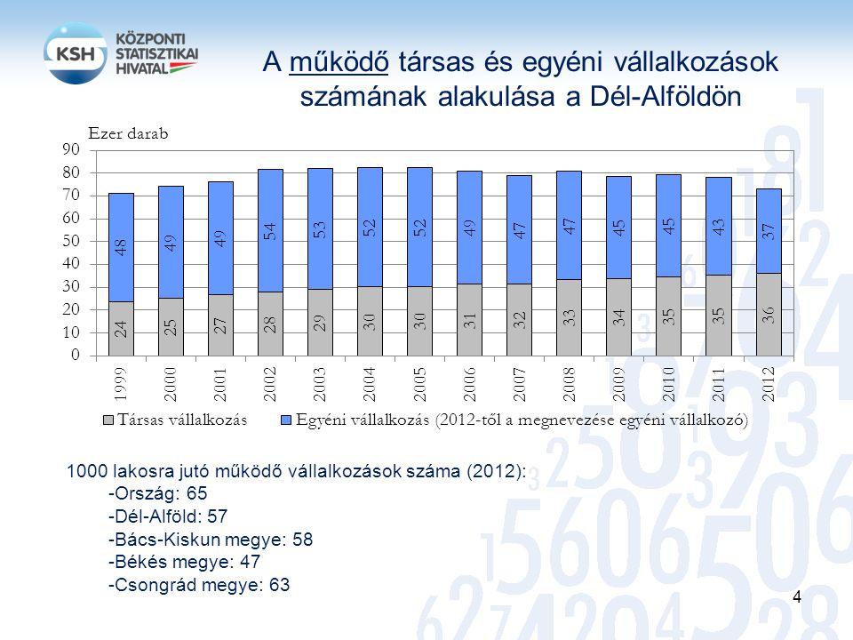 A működő társas és egyéni vállalkozások számának alakulása a Dél-Alföldön