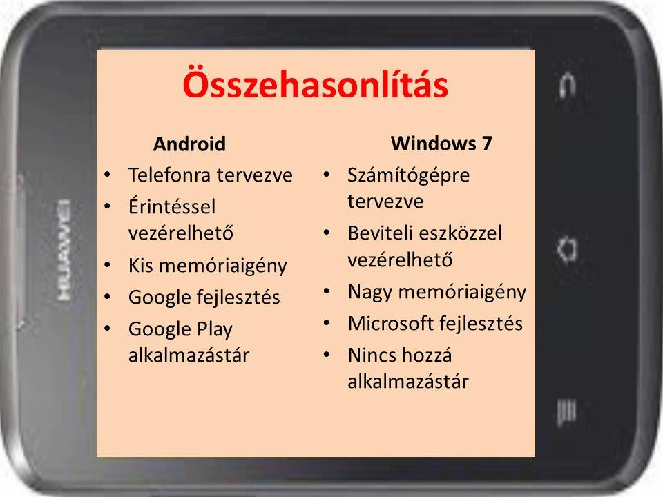 Összehasonlítás Android Windows 7 Telefonra tervezve