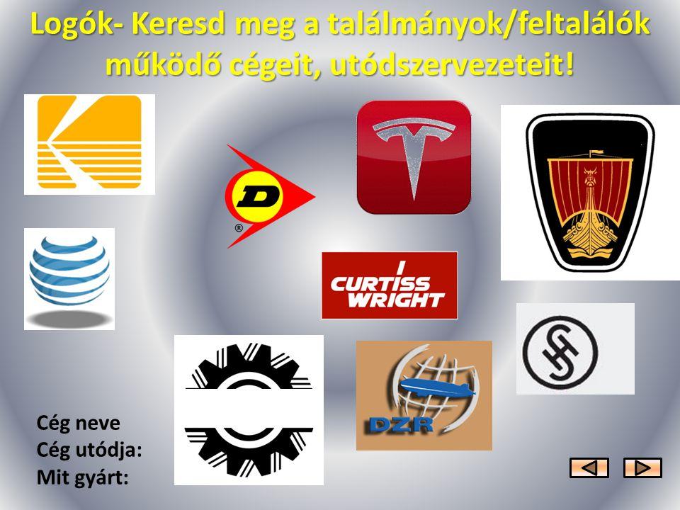 Logók- Keresd meg a találmányok/feltalálók működő cégeit, utódszervezeteit!