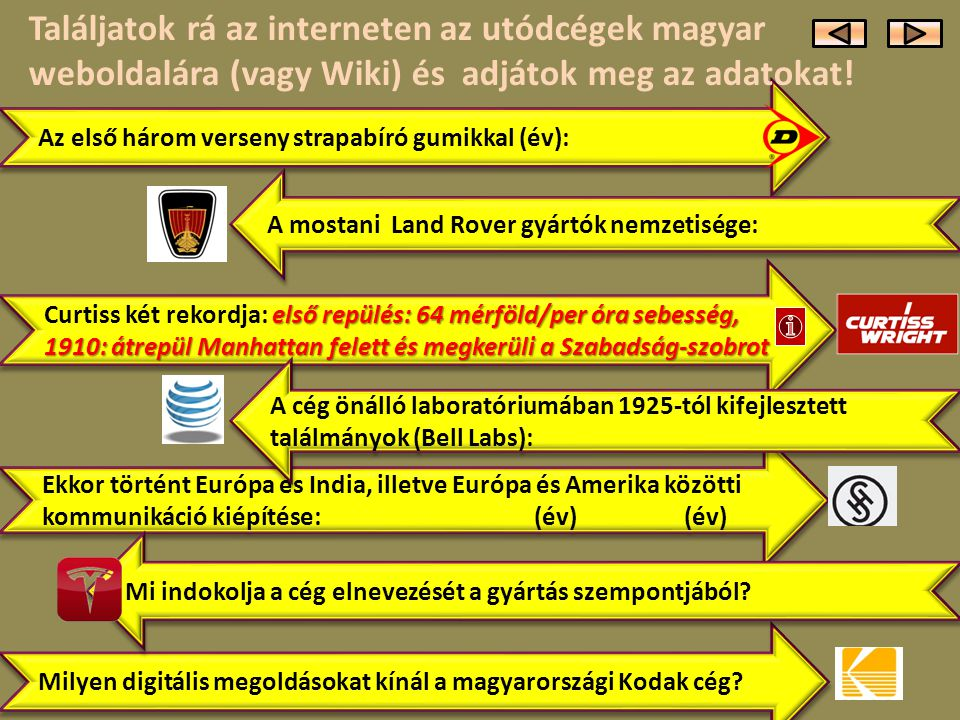 Találjatok rá az interneten az utódcégek magyar weboldalára (vagy Wiki) és adjátok meg az adatokat!