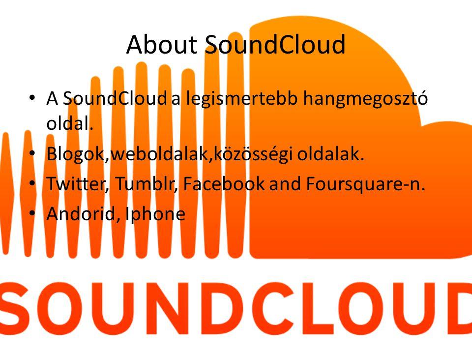 About SoundCloud A SoundCloud a legismertebb hangmegosztó oldal.