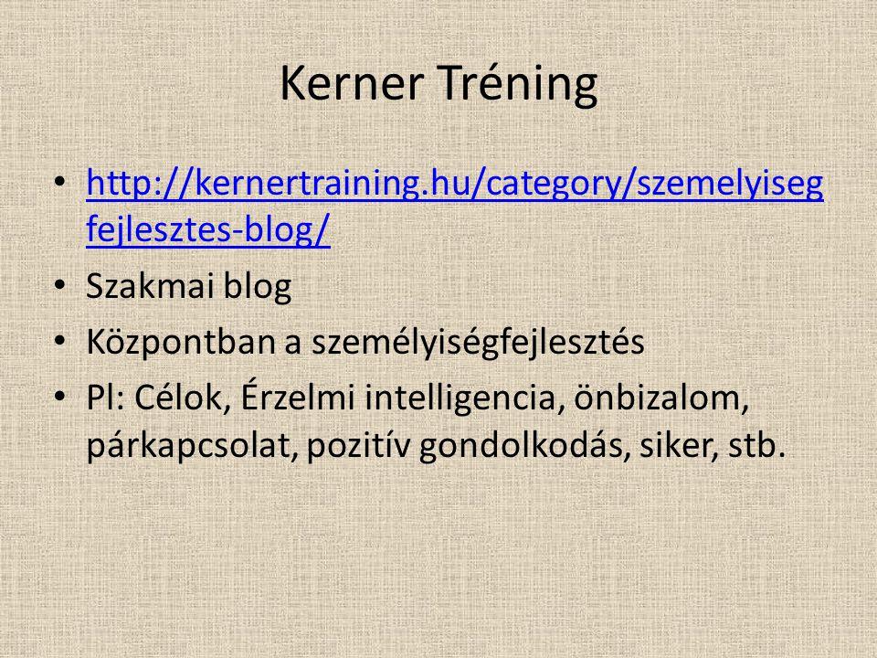 Kerner Tréning http://kernertraining.hu/category/szemelyisegfejlesztes-blog/ Szakmai blog. Központban a személyiségfejlesztés.