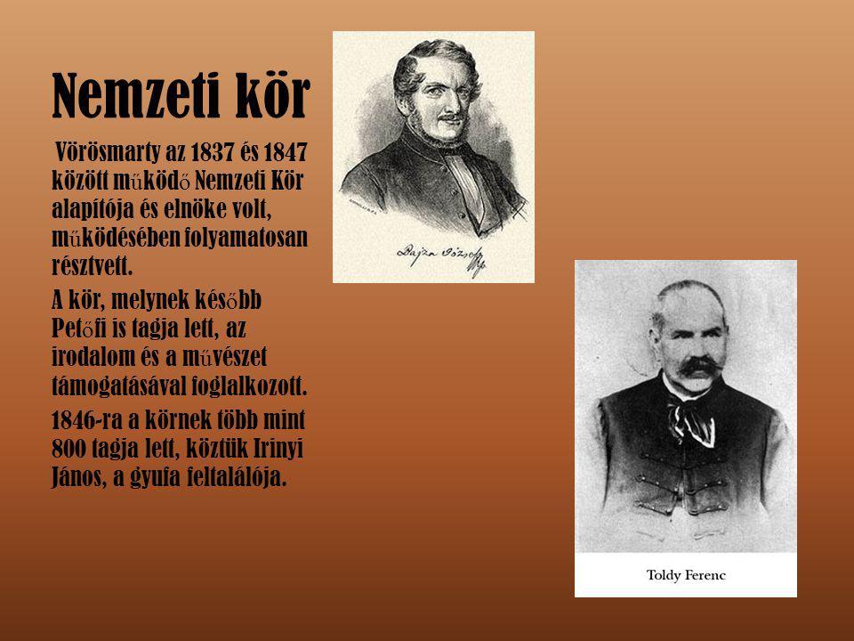 Nemzeti kör Vörösmarty az 1837 és 1847 között működő Nemzeti Kör alapítója és elnöke volt, működésében folyamatosan résztvett.