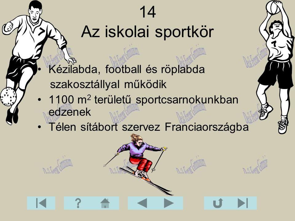 14 Az iskolai sportkör Kézilabda, football és röplabda