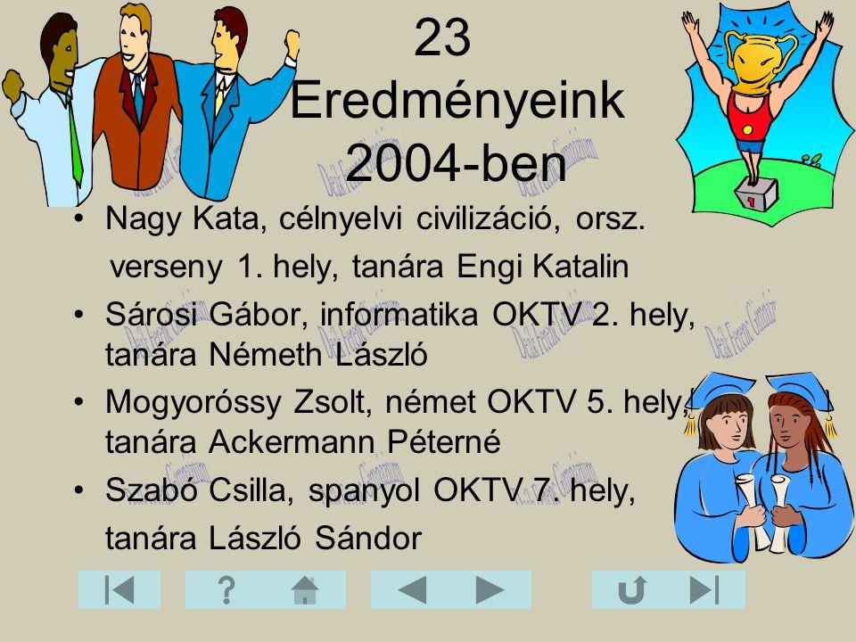 23 Eredményeink 2004-ben Nagy Kata, célnyelvi civilizáció, orsz.
