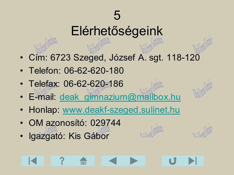 5 Elérhetőségeink Cím: 6723 Szeged, József A. sgt. 118-120