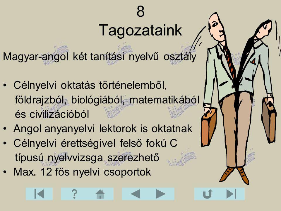 8 Tagozataink Magyar-angol két tanítási nyelvű osztály