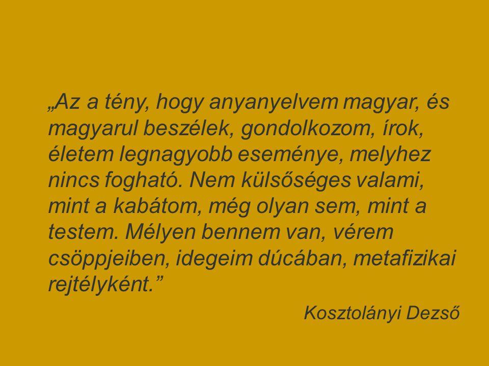 """""""Az a tény, hogy anyanyelvem magyar, és magyarul beszélek, gondolkozom, írok, életem legnagyobb eseménye, melyhez nincs fogható. Nem külsőséges valami, mint a kabátom, még olyan sem, mint a testem. Mélyen bennem van, vérem csöppjeiben, idegeim dúcában, metafizikai rejtélyként."""