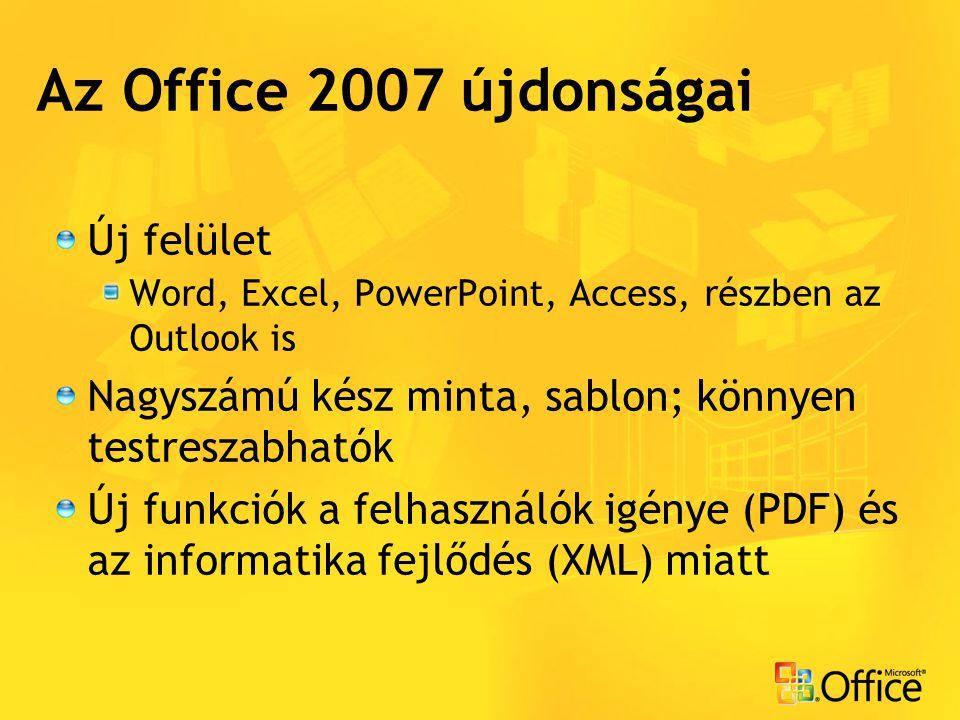 Az Office 2007 újdonságai Új felület