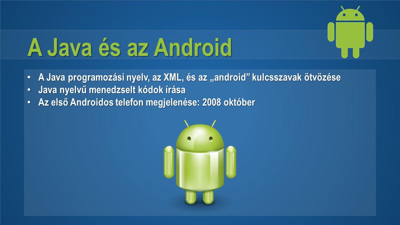 """A Java és az Android A Java programozási nyelv, az XML, és az """"android kulcsszavak ötvözése. Java nyelvű menedzselt kódok írása."""